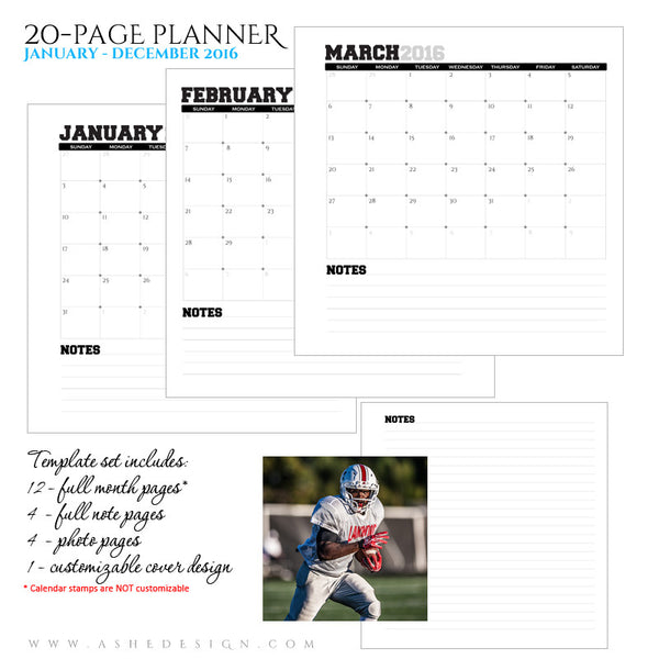 Ashe Design | Photo Book Soft Cover 8x8 | Monthly Planner Set | Team Spirit 2016