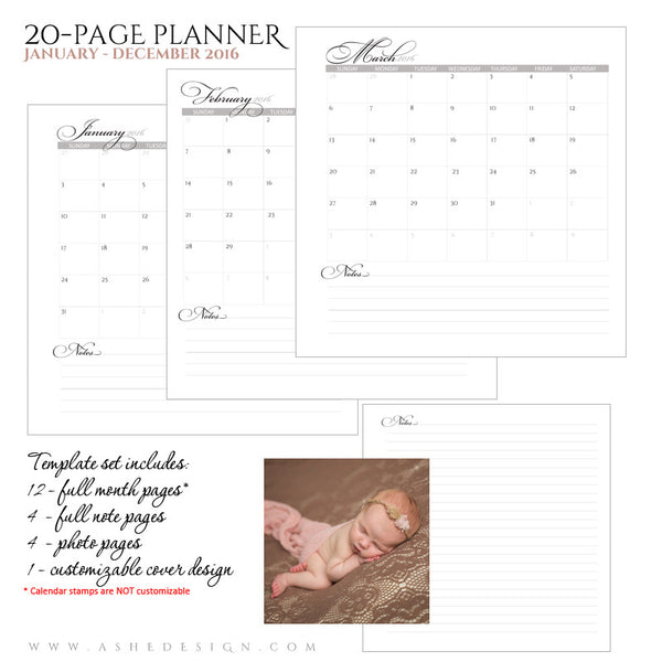 Ashe Design | Photo Book Soft Cover 8x8 | Monthly Planner Set 2016 | Imagine