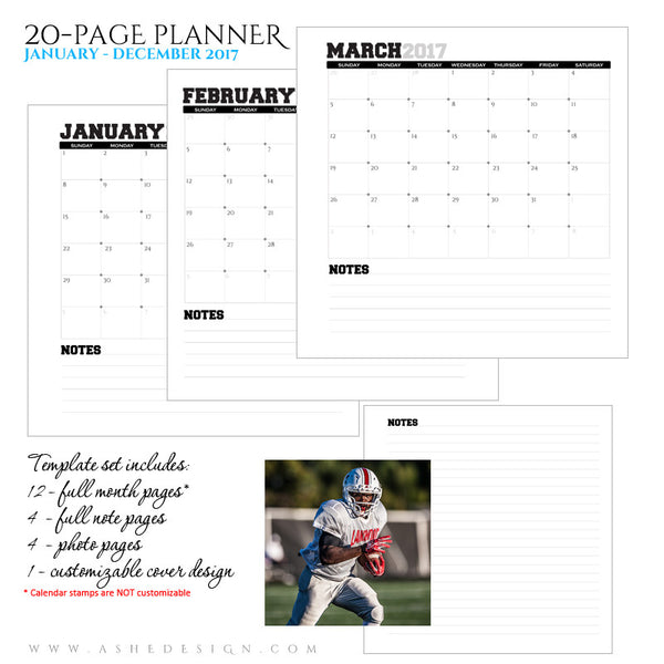 Ashe Design | Photo Book Soft Cover 8x8 | Monthly Planner Set | Team Spirit 2017