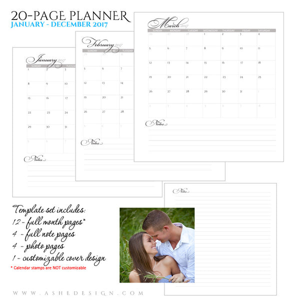 Ashe Design | Photo Book Soft Cover 8x8 | Monthly Planner Pages 2017 | I Do