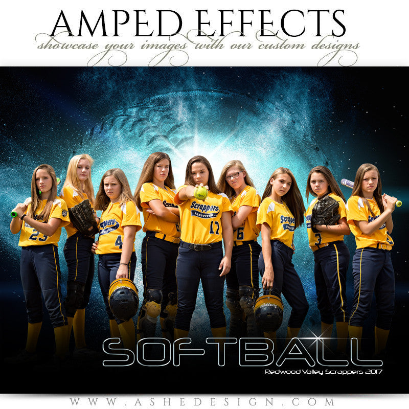 Ashe Design 16x20 Amped Effects Sports Photography Photoshop Templates Softball Poster Platinum Burst