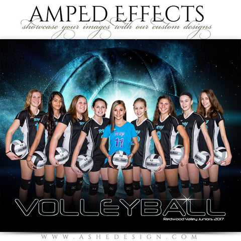 Ashe Design 16x20 Amped Effects Sports Photography Photoshop Templates Volleyball Poster Platinum Burst