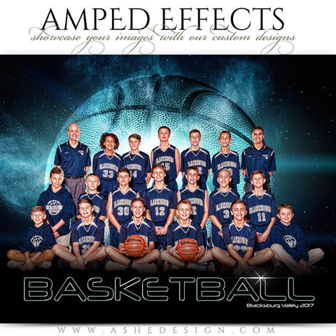 Ashe Design 16x20 Amped Effects Sports Photography Photoshop Templates Basketball Poster Platinum Burst