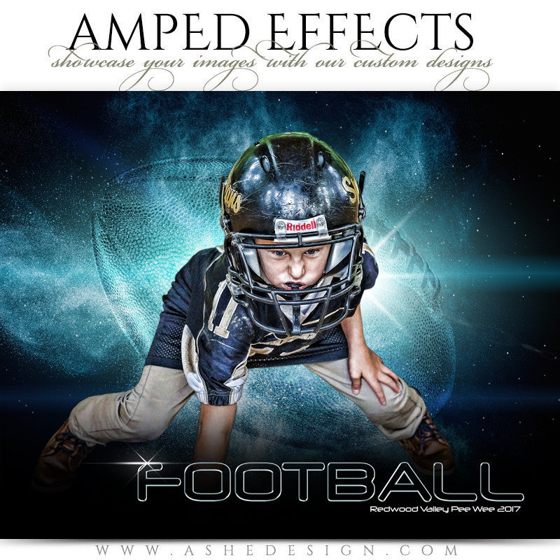 Ashe Design 16x20 Amped Effects Sports Photography Photoshop Templates Football Poster Platinum Burst