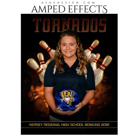 Ashe Design 16x20 Amped Effects Sports Poster - Backdraft Bowling