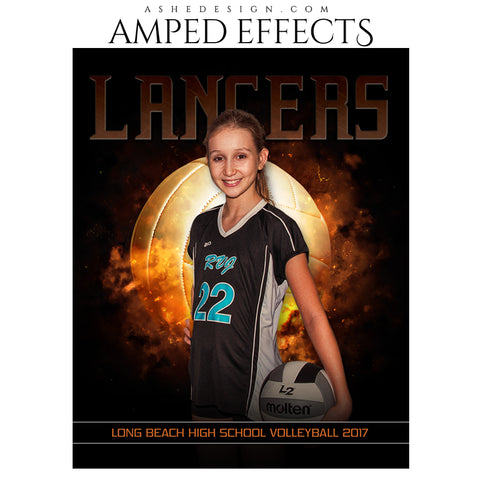 Ashe Design 16x20 Amped Effects Sports Poster - Backdraft Volleyball