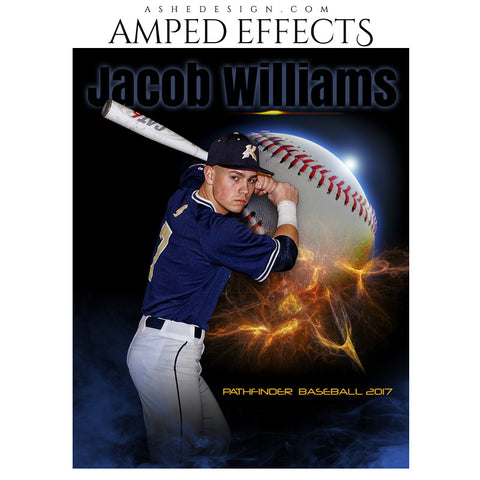 Ashe Design 16x20 Amped Effects Sports Poster - Baseball Universe