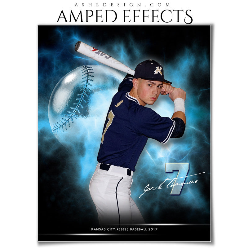 Ashe Design 16x20 Amped Effects Sports Photography Photoshop Templates Electric Explosion Baseball