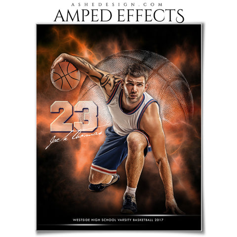 Ashe Design 16x20 Amped Effects Sports Photography Photoshop Templates Electric Explosion Basketball