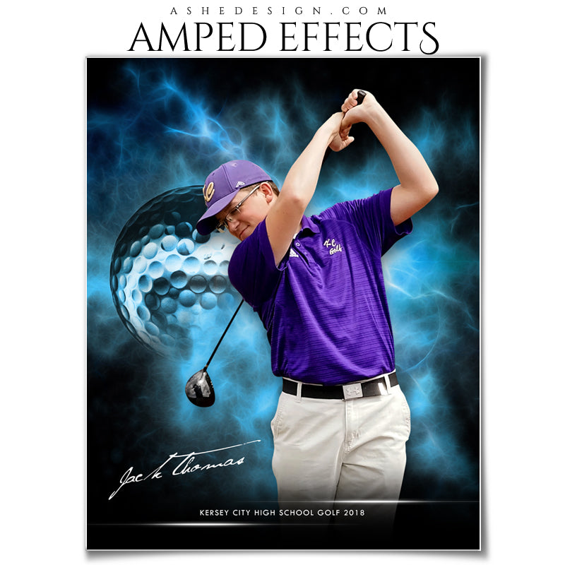 Ashe Design 16x20 Amped Effects Sports Photography Photoshop Templates Electric Explosion Golf