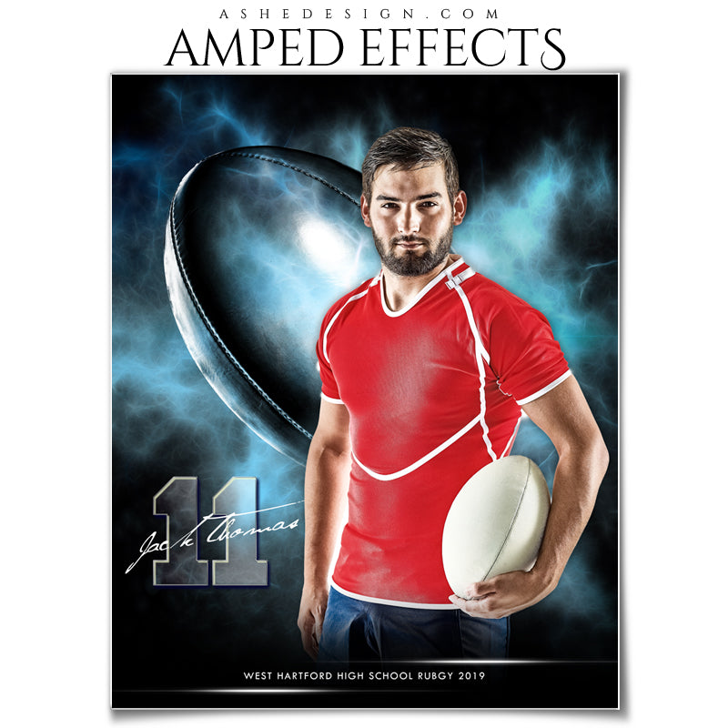 Ashe Design 16x20 Amped Effects Sports Photography Photoshop Templates Electric Explosion Rugby