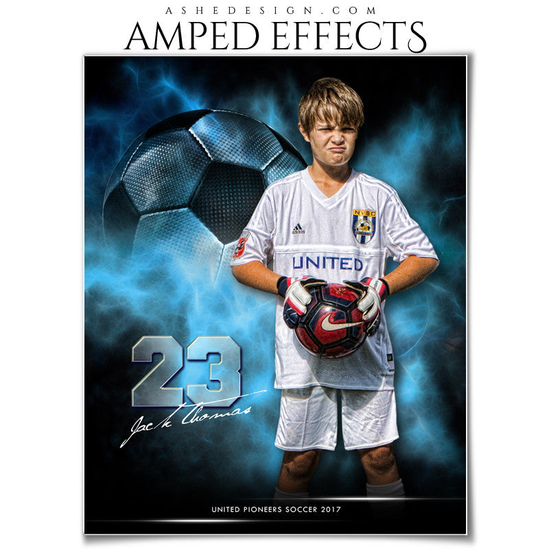 Ashe Design 16x20 Amped Effects Sports Photography Photoshop Templates Electric Explosion Soccer