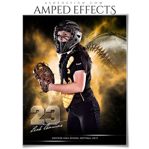 Ashe Design 16x20 Amped Effects Sports Photography Photoshop Templates Electric Explosion Softball