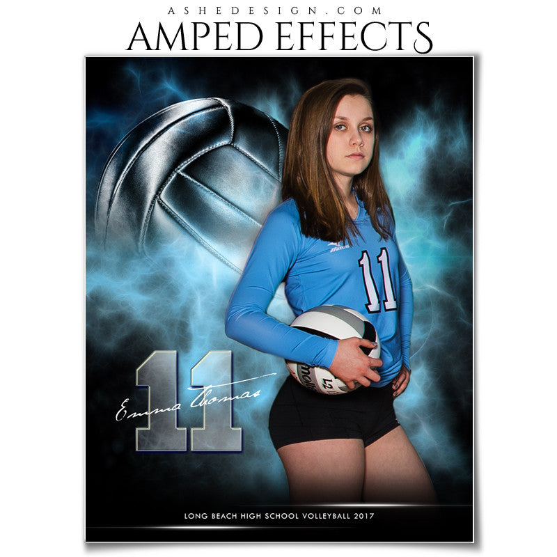 Ashe Design 16x20 Amped Effects Sports Photography Photoshop Templates Electric Explosion Volleyball