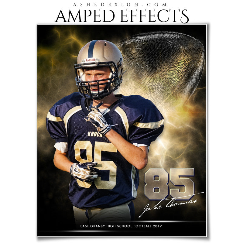 Ashe Design 16x20 Amped Effects Sports Photography Photoshop Templates Electric Explosion Football