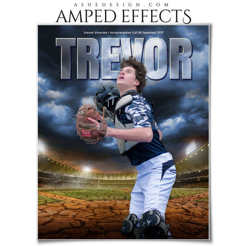 Ashe Design 16x20 Amped Effects Sports Photography Photoshop Templates Breaking Ground Baseball