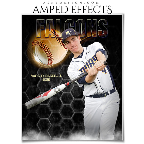Ashe Design 16x20 Amped Effects - Honeycomb Smoke _ Baseball