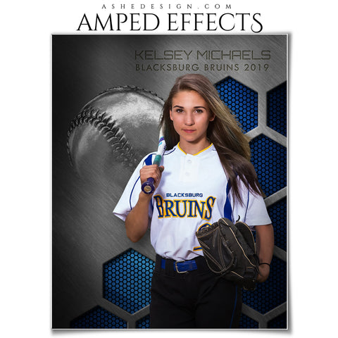 Ashe Design 16x20 Amped Effects Sports Poster - Honeycomb Steel - Softball
