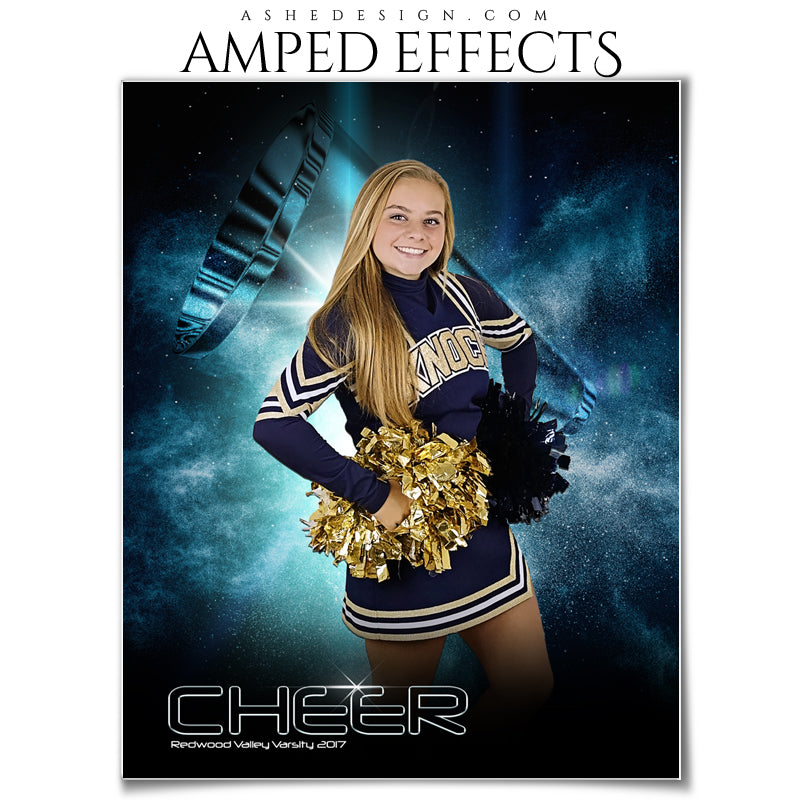 Ashe Design 16x20 Amped Effects Sports Poster - Platinum Burst - Cheer