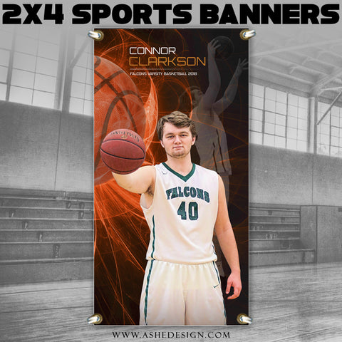 Ashe Design 2x4 Sports Banner - Mystic Explosion Basketball