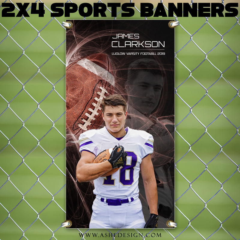 Ashe Design 2x4 Sports Banner - Mystic Explosion Football