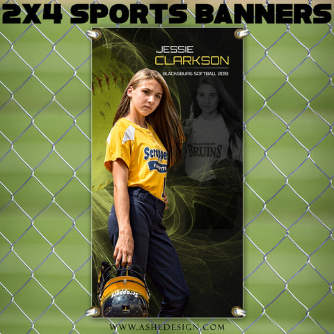Ashe Design 2x4 Sports Banner - Mystic Explosion Softball