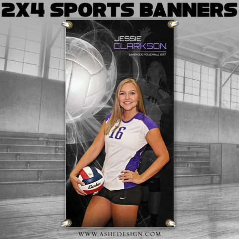 Ashe Design 2x4 Sports Banner - Mystic Explosion Volleyball