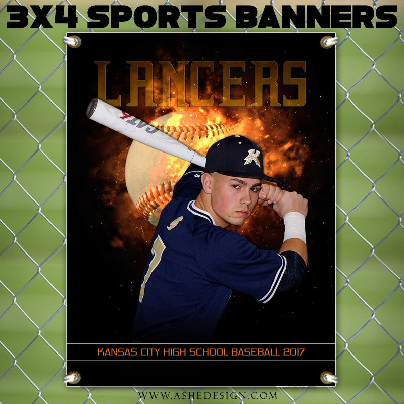 3x4 Amped Sports Banner Photoshop Templates Backdraft