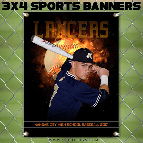 Ashe Design 3x4 Sports Banner Backdraft Baseball