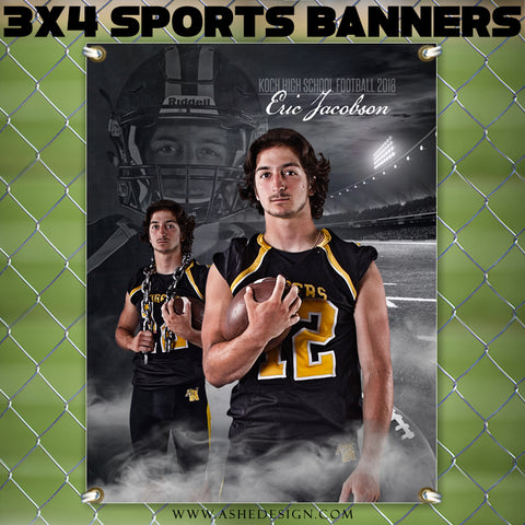 Ashe Design 3x4 Amped Sports Banner Photoshop Templates | Dream Weaver Football