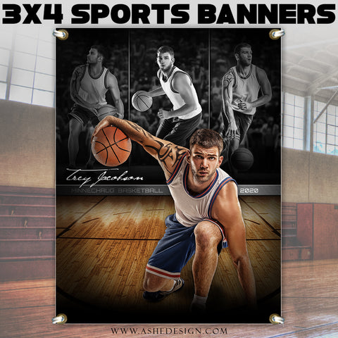 Ashe Design 3x4 Sports Banner - Faded Triptych Basketball