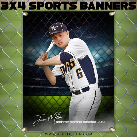 Ashe Design 3x4 Amped Sports Banner Photoshop Templates | Fenced In Baseball