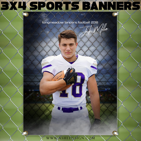 Ashe Design 3x4 Amped Sports Banner Photoshop Templates | Fenced In Football
