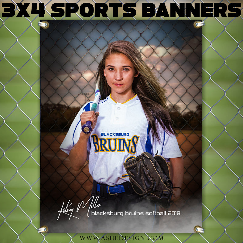 Ashe Design 3x4 Amped Sports Banner Photoshop Templates | Fenced In Softball