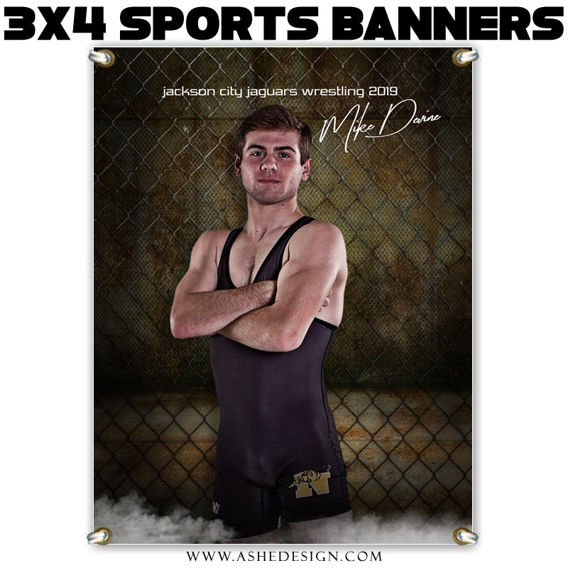 Ashe Design 3x4 Amped Sports Banner Photoshop Templates | Fenced In Wrestling