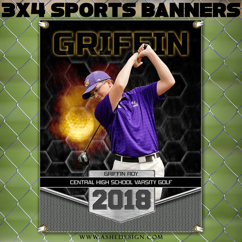 Ashe Design 3x4 Amped Sports Banner Photoshop Templates | Great Balls of Fire Golf
