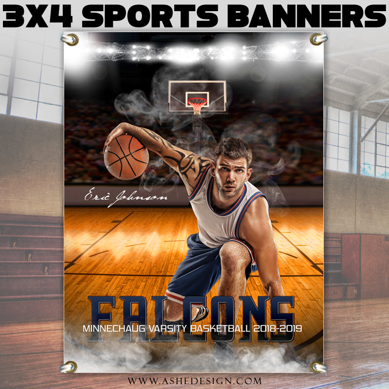 Ashe Design 3x4 Amped Sports Banner Photoshop Templates | Home Court