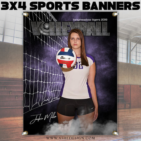 Ashe Design 3x4 Amped Sports Banner Photoshop Templates | Rocked Volleyball