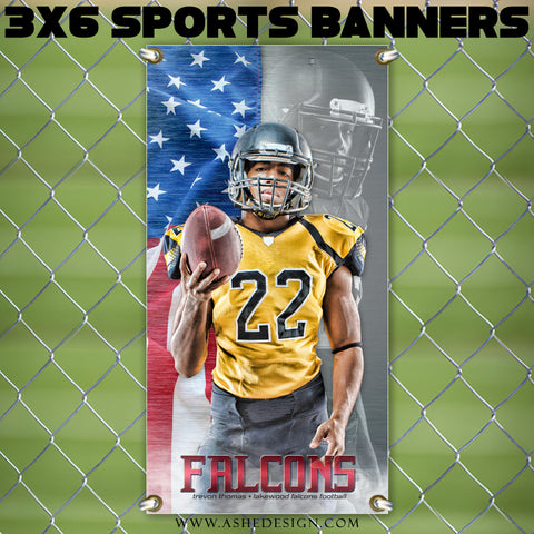 Ashe Design 3x6 Sports Banner - Home Of The Free