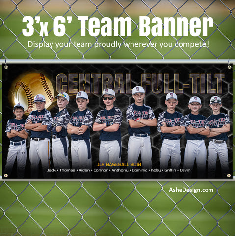 Ashe Design 3x6 Sports Banner - Honeycomb Baseball