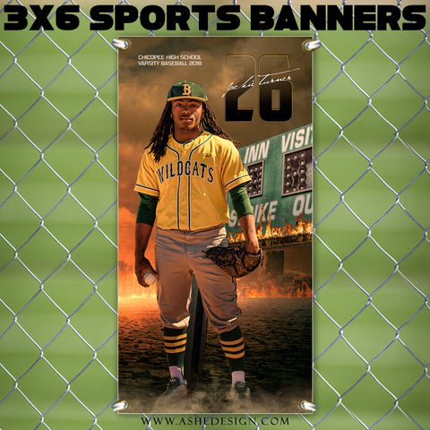 Ashe Design 3x6 Sports Banner - Inferno Baseball