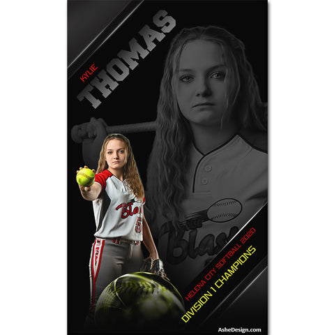 3x5 Amped Sports Banner - High Gloss Softball