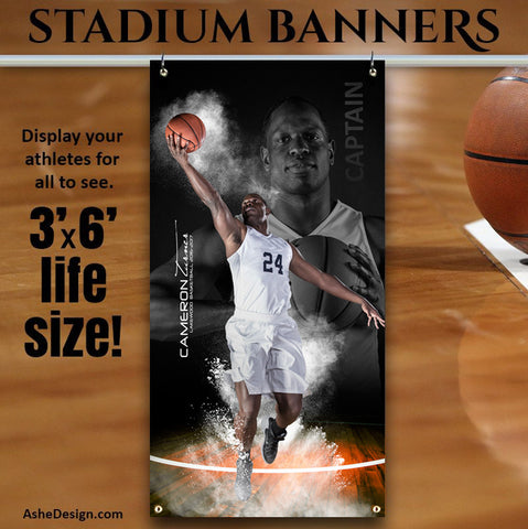 Amped Stadium Banner 3'x6' - Powder Blowout Basketball
