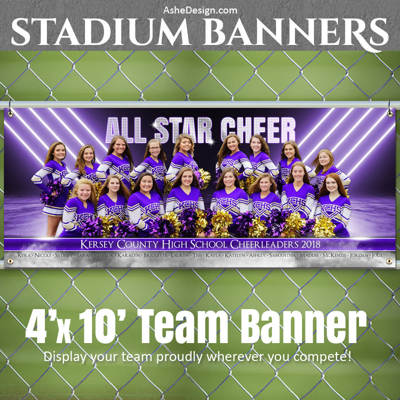 Ashe Design 4x10 Stadium Banner - All Star Cheer