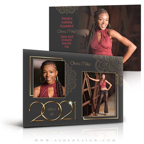 5x7 Flat Card Design - Gold Plated Grad