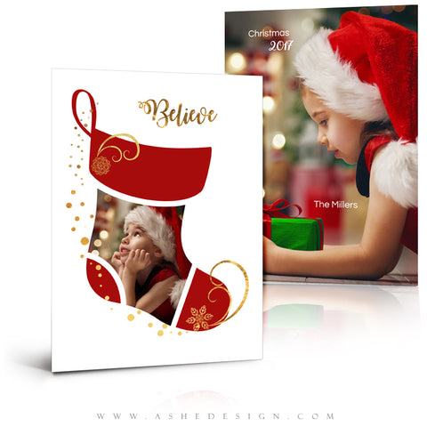 5x7 Flat Christmas Card  - Christmas Stocking