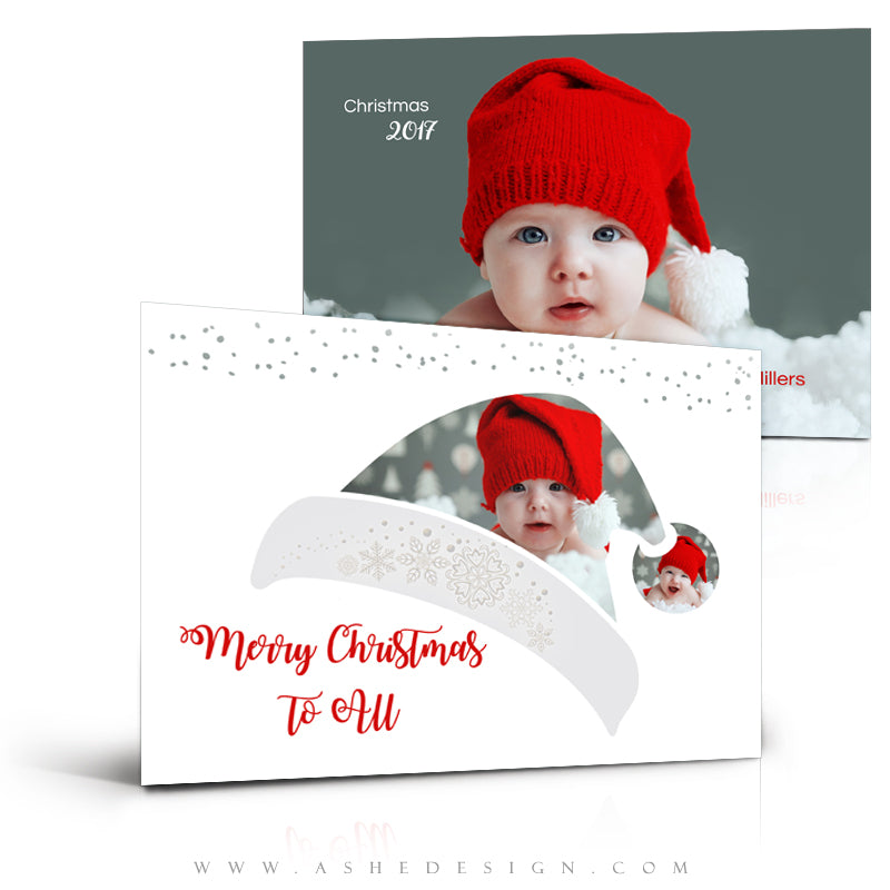 5x7 Flat Christmas Card  - Santa Hat