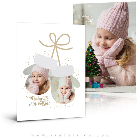 5x7 Flat Christmas Card  - Warm Mittens