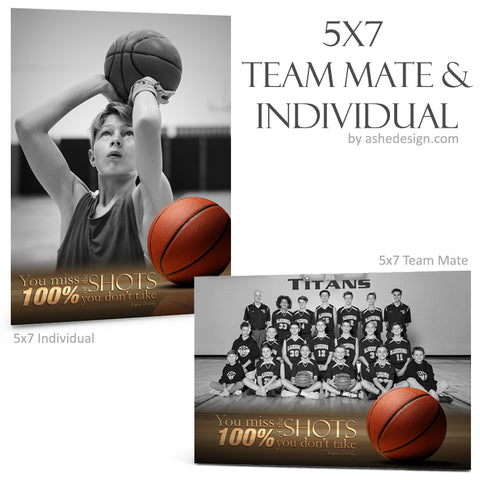 Ashe Design 5x7 Team Mate & Individual - Center Court Basketball