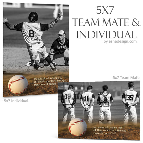 Ashe Design 5x7 Team Mate & Individual - Home Plate Baseball